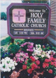 HOLY FAMILY MASS SIGN